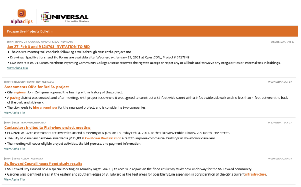 Business Development Leads for AEC from Universal Information Services